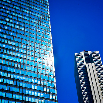 Skyscrapers in Tokyo station at day time